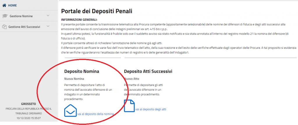 Deposito nomina Portale dei Depositi Telematici