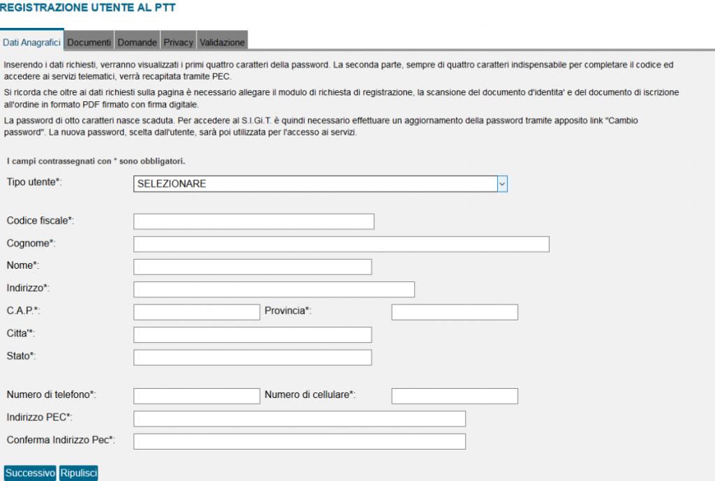 Registrazione Utente PTT